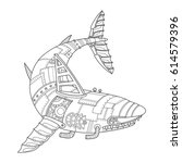 steam punk style shark.... | Shutterstock .eps vector #614579396