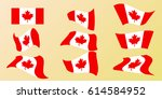 the flag of canada with red... | Shutterstock .eps vector #614584952