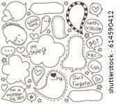 set of hand drawn speech and... | Shutterstock .eps vector #614590412