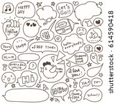 set of hand drawn speech and...   Shutterstock .eps vector #614590418