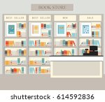 bookstore with bookshelves ... | Shutterstock .eps vector #614592836