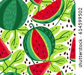 bright pattern with watermelons ... | Shutterstock .eps vector #614599502