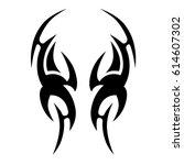 Tattoo tribal vector designs. Tribal tattoos.  Art tribal tattoo. Vector sketch of a tattoo.  Idea for design.   Shutterstock vector #614607302
