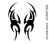 tattoo sketch tribal vector... | Shutterstock .eps vector #614607302