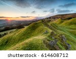 Beautiful sunrise over the Llangattock Escarpment in the Brecon Beacons national park in Wales