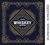 old whiskey label and vintage... | Shutterstock .eps vector #614610302