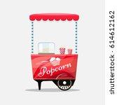 popcorn cart  kiosk on wheels ... | Shutterstock .eps vector #614612162