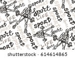 hand drawn sport pattern with...   Shutterstock .eps vector #614614865