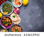 assorted middle eastern dishes... | Shutterstock . vector #614615942