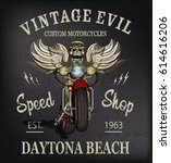 vintage custom motorcycle ... | Shutterstock .eps vector #614616206