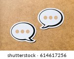 2 speech bubbles on a light... | Shutterstock . vector #614617256