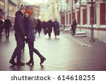 young man and woman hugging... | Shutterstock . vector #614618255