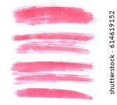 set of pink brush strokes... | Shutterstock . vector #614619152