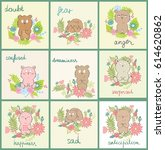 set of cartoon bears with...   Shutterstock .eps vector #614620862
