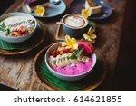 healthy breakfast made of...   Shutterstock . vector #614621855