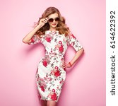 blonde young woman in floral... | Shutterstock . vector #614622392
