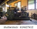 old rotary lathe machine tool... | Shutterstock . vector #614627612
