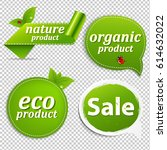 green set eco tags  | Shutterstock . vector #614632022