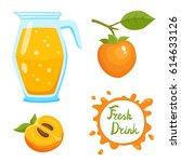 vector set of natural fresh... | Shutterstock .eps vector #614633126