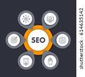 seo infographics template with... | Shutterstock .eps vector #614635142