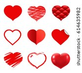 hearts set | Shutterstock . vector #614635982
