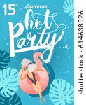 hot pool summer party with girl ...   Shutterstock .eps vector #614638526