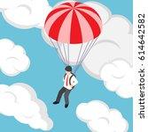 flat 3d isometric businessman... | Shutterstock .eps vector #614642582
