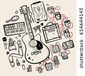 guitar accessories line vector... | Shutterstock .eps vector #614644145