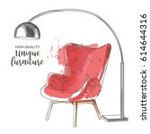 red chair with lamp. hand drawn ... | Shutterstock .eps vector #614644316