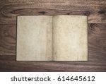 open plain page vintage book... | Shutterstock . vector #614645612