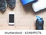 flat lay of mobile phone with... | Shutterstock . vector #614649176