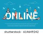 online addiction concept...   Shutterstock . vector #614649242