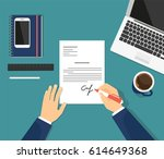 sign the contract in the office.... | Shutterstock . vector #614649368