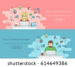 woman and man working with... | Shutterstock . vector #614649386