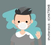young sad character wiping a... | Shutterstock .eps vector #614675048