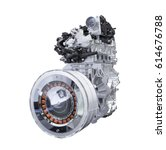 hybrid car engine isolated on... | Shutterstock . vector #614676788