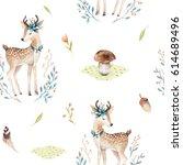 cute baby deer animal seamless... | Shutterstock . vector #614689496