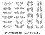 set of hand drawn angel or bird ... | Shutterstock .eps vector #614694152