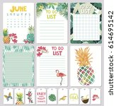 set of calendar daily and... | Shutterstock .eps vector #614695142
