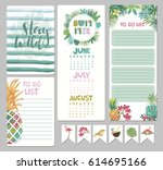 set of calendar daily and... | Shutterstock .eps vector #614695166