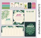 set of calendar daily and... | Shutterstock .eps vector #614695172