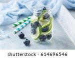 lemon lime berries fresh... | Shutterstock . vector #614696546