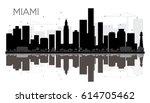 miami city skyline black and...   Shutterstock .eps vector #614705462