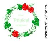 vector banner with hibiscus...   Shutterstock .eps vector #614705798