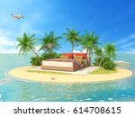 the concept of vacation. rest... | Shutterstock . vector #614708615
