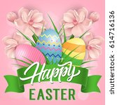 happy easter lettering with...   Shutterstock .eps vector #614716136