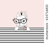 cute french bulldog princess ... | Shutterstock .eps vector #614716832