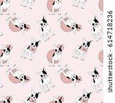 french bulldog seamless pattern | Shutterstock .eps vector #614718236