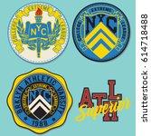 set of emblem  labels denim... | Shutterstock .eps vector #614718488