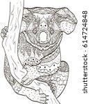 zentangle stylized cartoon... | Shutterstock .eps vector #614724848